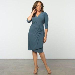 NWT Kiyonna Wrap Dress in Misty Blue 1X